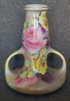 GORGEOUS NIPPON HAND PAINTED FLORAL PINK YELLOW ROSES 2 HANDLED ART NOUVEAU URN