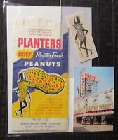 Vintage PLANTERS PEANUTS 5oz Bag , Decal & Post Card LOT of 3 Willkes Barre