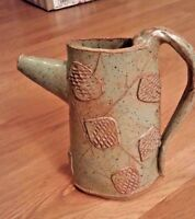 Cindy Bee signed earthtone green leaves large pottery pitcher EC RARE!