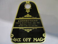 Nameplate Connecticut Switch Plane Vintage Car bat. Off mag. Shield Brass S36