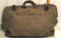 VINTAGE BELL SYSTEMS LINEMAN'S LEATHER and CANVAS TOOL BAG