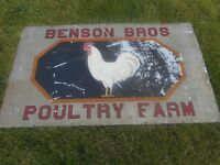 Vintage BENSON BROS POULTRY CHICKEN FARM Painted  PORCELAIN POLARINE OIL SIGN