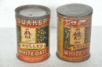 2 Pc Vintage Quaker Rolled White Oats Ad Litho Tin Box