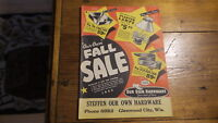 1953 OUR OWN HARDWARE Catalog, Fall Sale Edition, Sporting Goods, Housewares