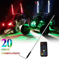 3FT RGB Lighted Antenna LED Light Whip Flag Pole Off road For ATV RZR UTV Buggy