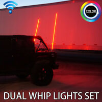 Dual LED Whip Light Set for Jeep Offroad 4x4 Sand Dunes Wireless Remote Color