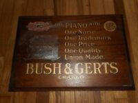 Vintage Early BUSH & GERTS Chicago Piano Wooden MEYERCORD Advertising SIGN