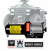 3000lbs 12V Electric Recovery Winch Kit w/ Mounting Plate For ATV UTV Boat