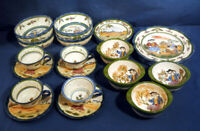 French Porcelain Pottery China Set 24 pcs. Taillaudier Decor Main Quimper Style