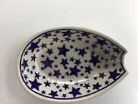C.A. POLISH POTTERY SPOON REST Blue Stars NEW
