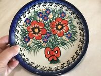 NEW POLISH POTTERY CER-MAZ 7.5 In. Dessert/Salad Plate-Unikat -Bouquet of Flower