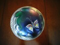 75 Signed DS Lundberg Studios Glass Paperweight Pulled Feather BUTTERFLY SALAZAR