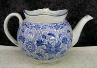 c 1820 Antique Staffordshire B. Adams Tendril Blue Transferware Pearlware Teapot
