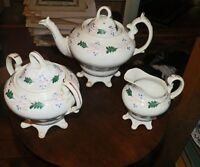 Antique Staffordshire Unmarked Sprig Type Footed Teapot, Sugar Bowl