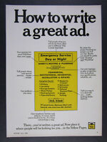 1969 Yellow Pages Directory #x27;How to write a great ad.#x27; vintage print Ad