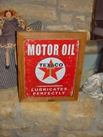TEXACO VINTAGE CUSTOM FRAMED MOTOR OIL MAN CAVE SOLID CEDAR METAL SIGN WEATHERED