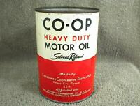 CO-OP HEAVY DUTY MOTOR OIL ONE QUART OIL CAN SOLVENT REFINED NO TOP CANCO 1 QT