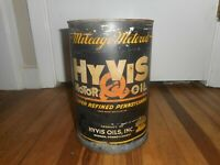 Vintage HYVIS 5 Quart Gas Station Tin Motor Oil Advertising CAN