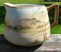 Vintage Nippon Water Pitcher or Carafe - Landscape Scene ~ Handpainted China