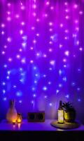 Merkury Innovations Led Window Curtain String Lights Wedding Party Home Garden B