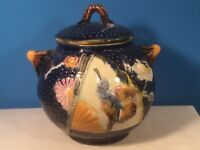 Antique Majolica Bird and Fan Cobalt Blue Sugar Bowl, em309