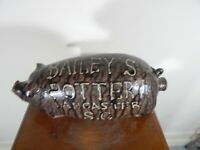 marvin bailey Pig Whiskey flask, pottery,face jug folkart  9x4