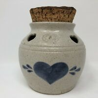 Pinewood Valley Potpourri Crock with Wood Chunk Lid Natural Pottery Blue Heart