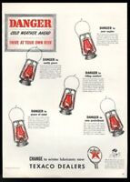 1940 red warning danger lantern art Texaco oil gas vintage print ad