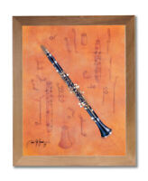 The Clarinet Music School Kids Room Wall Picture Honey Framed Art Print