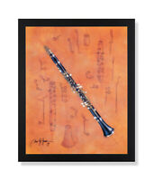 The Clarinet Music School Kids Room Wall Picture Black Framed Art Print