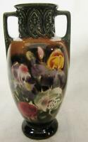 OLD CZECHOSLOVKIA CZECH POTTERY VASE w SHADOW FLORAL SCENE with BROWN amp; GREEN