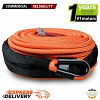 ORANGE SYNTHETIC WINCH ROPE Cable w/ Full Rock Guard 95' X 3/8