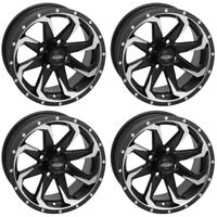 4 ATV/UTV Wheels Set 14in Quadboss Fury Machined 4/110 5+2 IRS