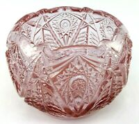 Vintage Fenton Cut Pressed Depression Glass Star Pattern Pink Amethyst Rose Bowl