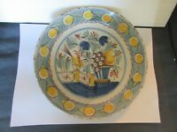 9 INCH POLYCHROME DELFT BIRD PLATE c1770 DUTCH OR ENGLISH NO MENDS,HAIRLINES