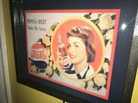 Pepsi Cola Pin-Up Girl Soda Fountain Diner Kitchen Lighted Advertising Sign
