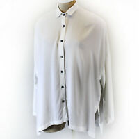 Pink Wheels White Collared Buttons Down Blouse Tunic One Size made in USA