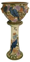 Weller Pottery Flemish Birds And Floral Ceramic Jardiniere And Pedestal