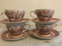 Churchhill Pink Willow Red Transferware Set of teacups and saucers