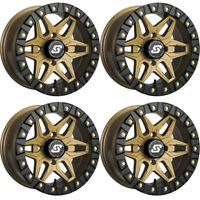 4 ATV/UTV Wheels Set 14in Sedona Split Six Beadlock Bronze 6 4/110 5+2 IRS