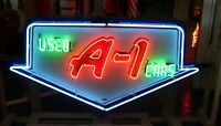 1950s Original Ford A-1 Used Cars Single Sided Porcelain Neon Sign by Texlite