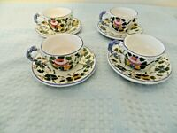 Castelli Pottery Italy Set of Four Demitasse/Espresso Cups and Saucers