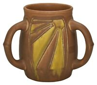 Rookwood Pottery 1908 Brown and Yellow Carved Three Handled Cup 659D (Duell)