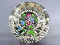 Marvelous Caithness Faceted Millefiori and Flower Bouquet Art Glass Paperweight
