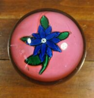 NEGC Antique Paperweight Clematis with PINK Background New England Glass Co.