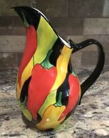 """CLAY ART COLORFUL CALIENTE PEPPERS 10 7/8""""T PITCHER LOOKS UNUSED 2001"""