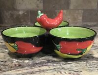 CLAY ART COLORFUL CALIENTE PEPPERS 3 SECTION CONDIMENT SERVER UNUSED COND 2002
