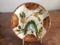 Antique French Majolica Lovebirds in Fruit Tree Plate c1800's, fm1033