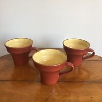 VIETRI Italy Cucina Fresca Blue Paprika Red Coffee Mugs Cups (3)