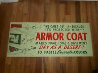 Vintage Cardboard ARMOR COAT Paint Store Advertising Sign w Great Graphics